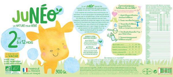 etiquette lait de vache de 6 à 12 mois